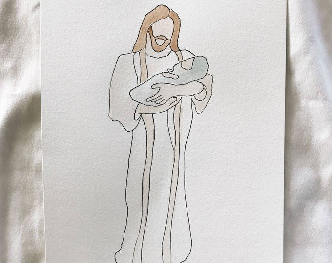 Christ holding baby print