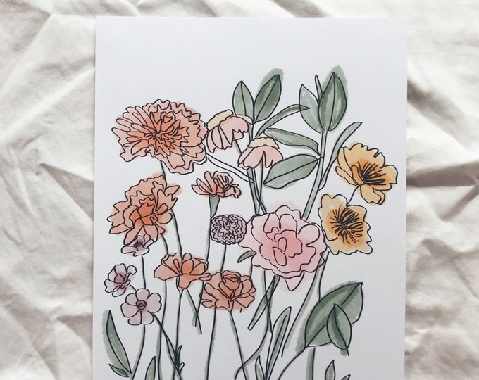 Growing florals Print