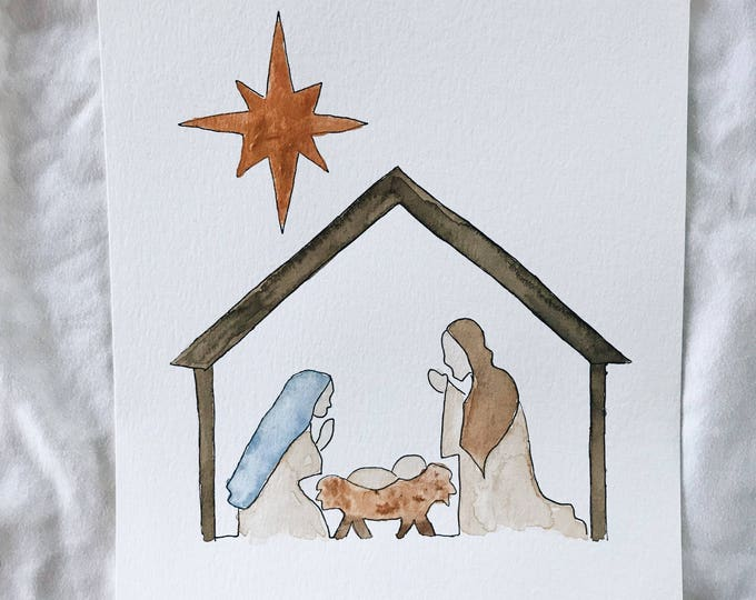 Christmas Nativity Scene watercolor painting print
