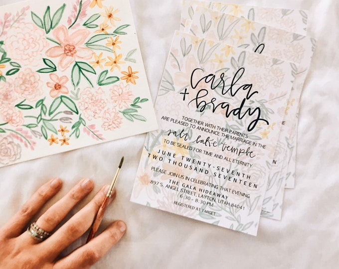 Bright floral Wedding Invites