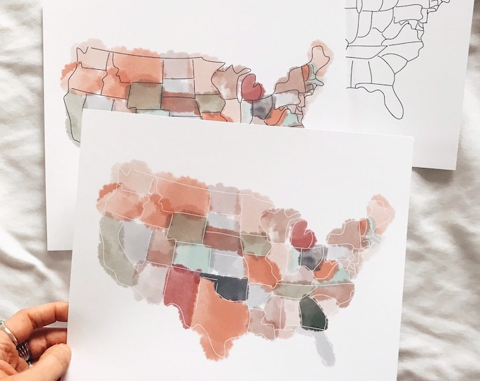 Watercoler wash United States map