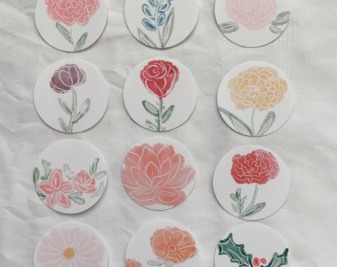 Flower months Stickers