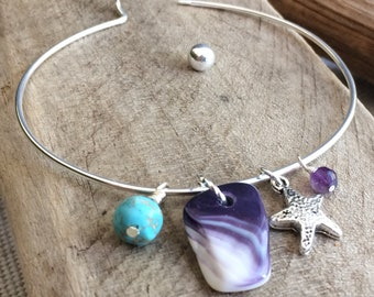 Wampum Bangle Bracelet, Native wampum jewelry, Cape Cod Bracelet, Healing Bracelet, Genuine Wampum bracelet, Natural Wampum Jewelry