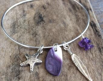 Wampum Bangle Bracelet, Native wampum jewelry, Cape Cod Bracelet, purple Genuine Handpicked Wampum bracelet, Natural Wampum Jewelry