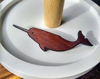 Laser Cut Narwhal Brooch