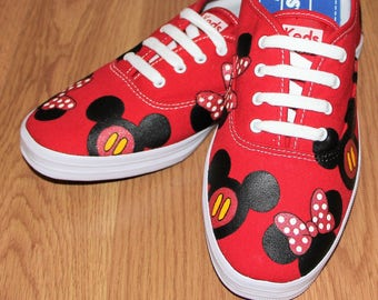 af58bf97bf2e MICKEY MOUSE KeDS MINNIE heads bow Disney Park Custom hand painted canvas  lace up shoes sneakers zapatillas pintadas