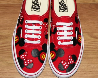 eb5689f3be Ready to ship sz 7.5 women VANS MICKEY MoUSE MINNIE heads bow Disney Park  Custom hand painted canvas lace up shoes sneakers zapatillas