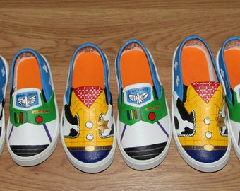 1b4a925b5a65 COMBO 3 TODDLER BABY Toy Story woody buzz lightyear Disney boys girls Custom  hand painted canvas shoes slip on zapatillas pintadas