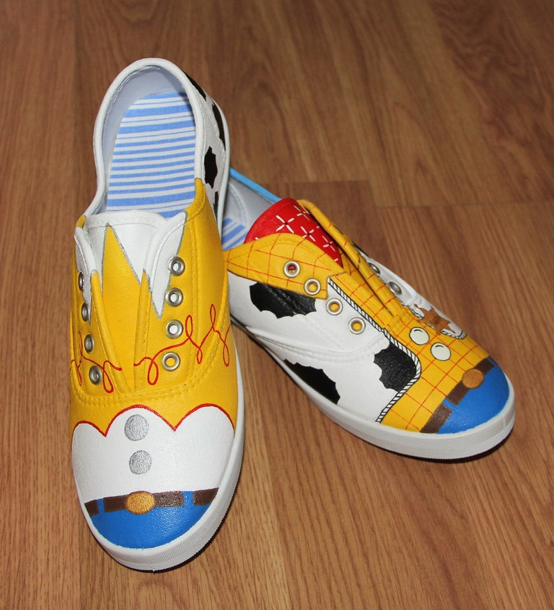 108d7f6f67a41 Woody & Jessie Toy Story Disney Women size cowboy cowgirl Custom hand  painted canvas shoes sneakers lace up zapatillas pintadas