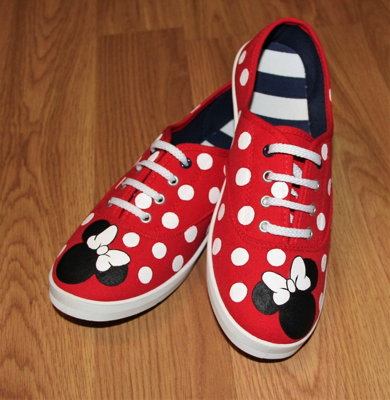 9c1e865e87ee1 Minnie Mouse heads bow Red Polka Dot Personalized name lace up Disney Park  Custom hand painted canvas shoes sneakers zapatillas pintadas