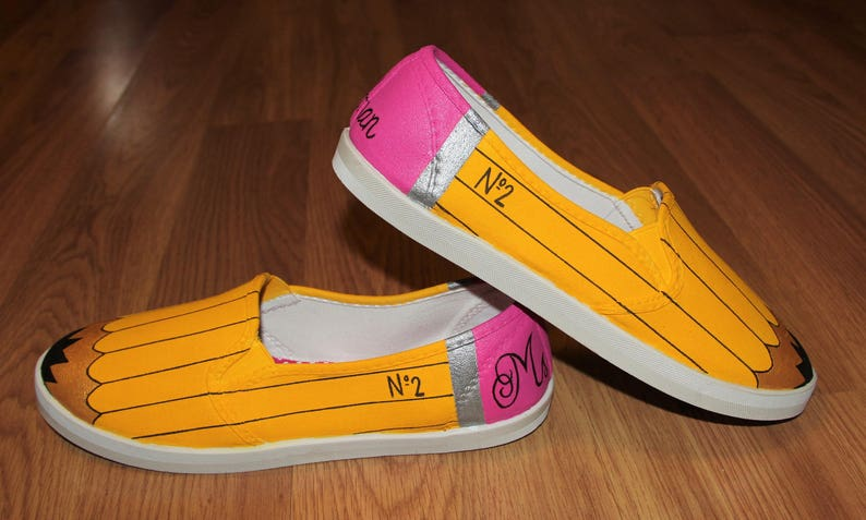 7ab5f97417675 Teacher appreciation gift Pencil No2 school Custom hand painted canvas slip  ons shoes sneakers