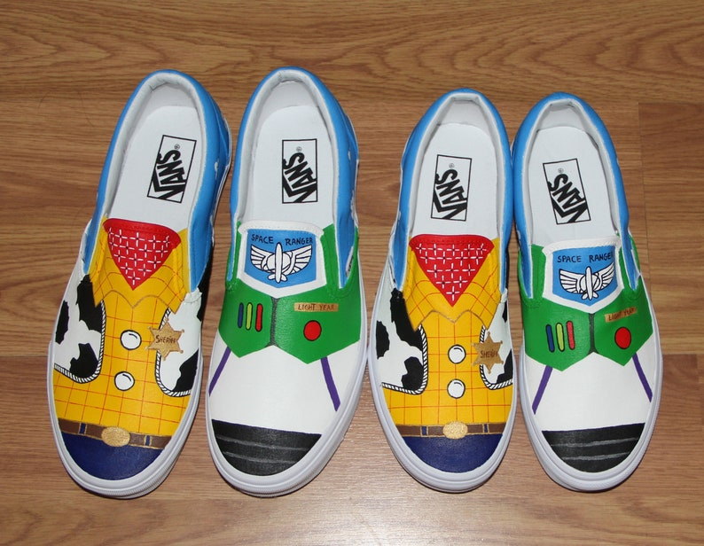 a1e0e08d0c183 Combo VANS Mom Dad Toy Story woody buzz lightyear Disney ADULT women men  hand painted canvas shoes slip on zapatos pintadas beatrizstudio