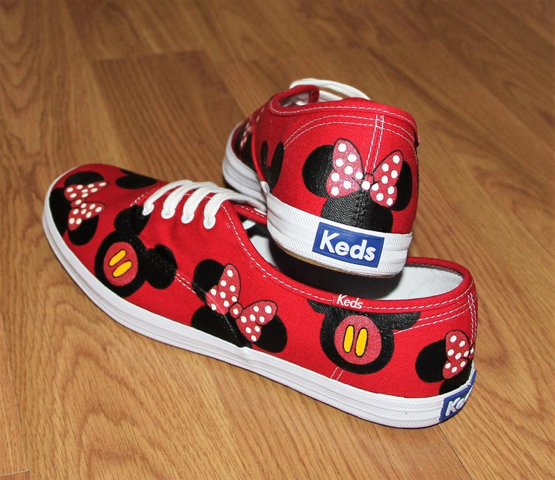 724fdd692a690 MICKEY MOUSE KeDS MINNIE heads bow Disney Park Custom hand painted canvas  lace up shoes sneakers zapatillas pintadas
