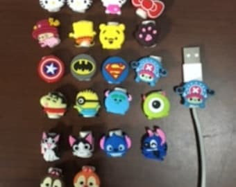 20 for 5 DOLLARS!! * Spring SALE * Cartoon Cable Cord Protectors *  Solid Colors Available Too *