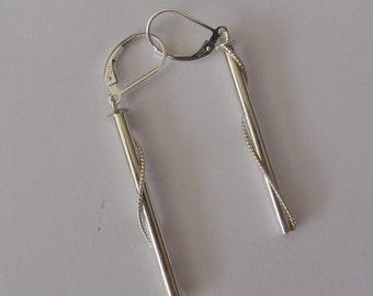 Sterling Silver Earrings, Solid Silver Earrings, Silver Tube Earrings, Handmade Earrings, Dangle Earrings, Drop Earrings, Modern Earrings.