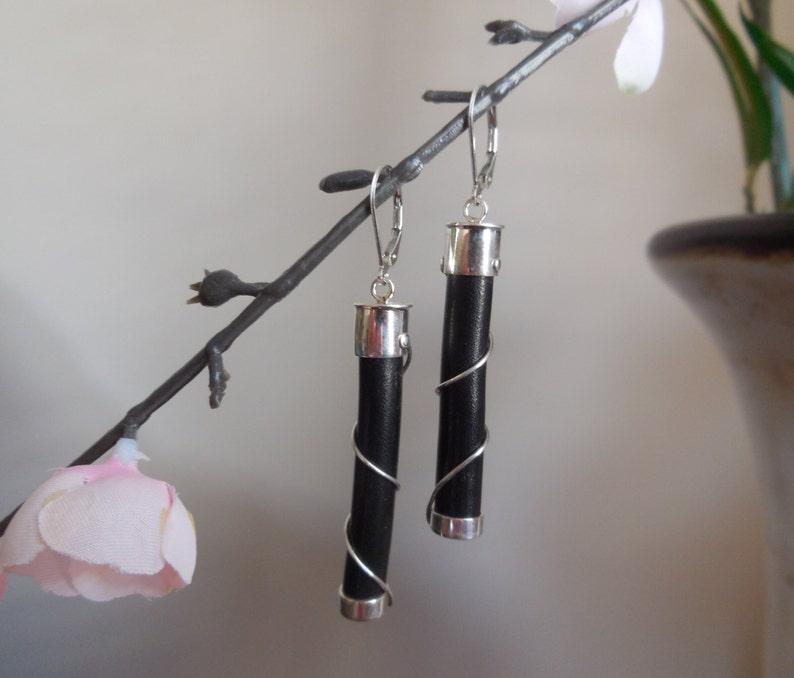Natural Black Coral Earrings,Long Black Coral Stick Dangle Earrings,Modern Earrings,Sterling Silver Black Coral Drop Earrings,