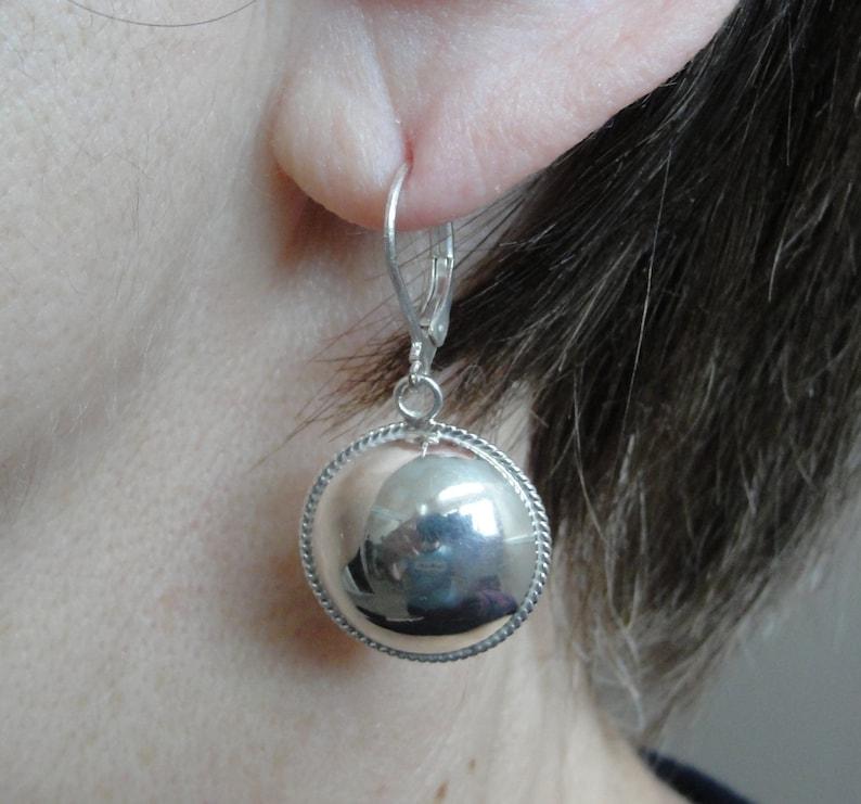 Handmade earrings Half round ball earrings Dangle earring Drop earrings Solid sterling silver earrings Simple earrings Silver earrings
