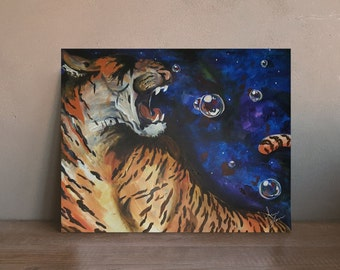 Space Tiger | 10 inch x 8 inch Enhanced Matte Paper Poster of Original Acyrlic Painting | Bubbles