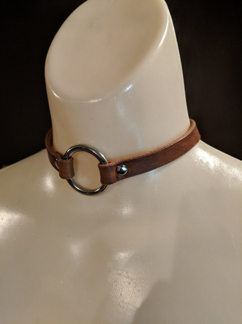 Leather Choker Metal O Ring Necklace