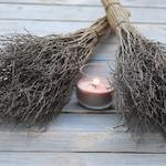 Sabbat broom Natural witch's broom Halloween broom Wiccan besom Rustic wedding decor Jumping broom Magic altar cleansing Pagan ritual
