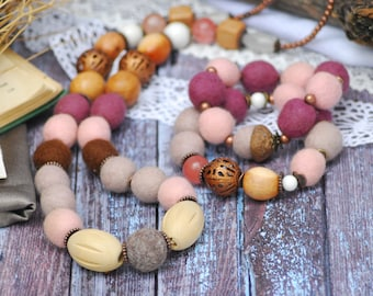 A set of bracelets and necklace Needle Felted Bead Necklace Statement Necklace Fabric Jewelry Handcrafted Necklace Felted Wool Necklace
