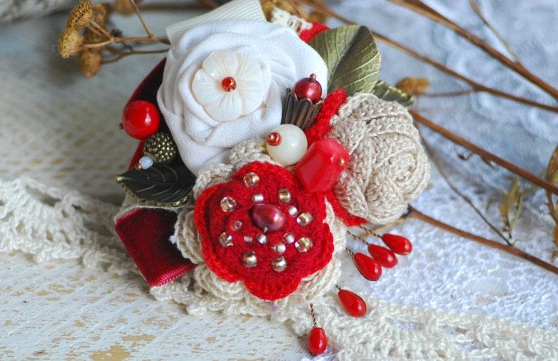 READY TO SHIP Bridal hairpin Ivory Headband HairAccessory Red image 0