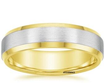 14 K Two Tone Beveled Edges 5.5 mm Wedding Bands