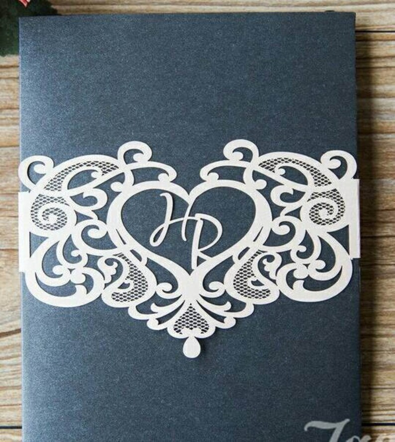 Diy Invitations Paper Belly Band Laser Cut Band Heart Belly Band Monogram Belly Band Invitation Supplies Lot Of 50