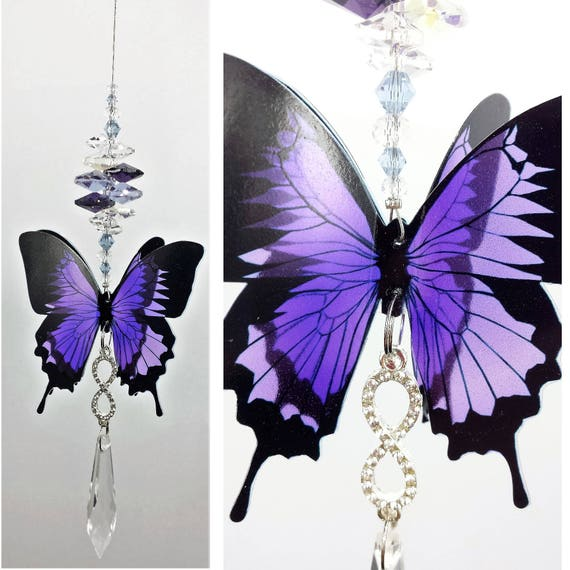 Butterfly Shape Hanging Pendant Purple Crystal Sun Catcher Home Decor Feng Shui
