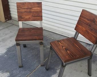 Wood Dining Chair Rustic Chair Welded Chair Industrial Furniture Industrial Chair  Custom Chair Steel Chair Rustic Furniture Dine Chair