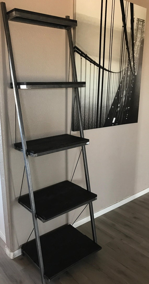Steel Leaning Shelf Wood Custom Industrial