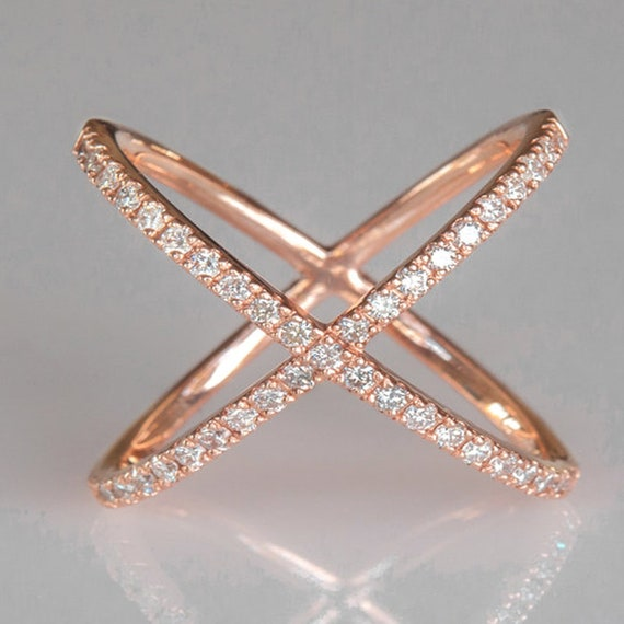 Women 18k Rose Gold Plated Austrian Crystal Criss Cross Setting X Ring
