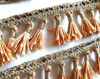 folclorostic braid beaswork tassels fringe trim turquoise golden blue gold tassels kurdish Boho Tassel braid 1,7m Tassel trim Kurdistan