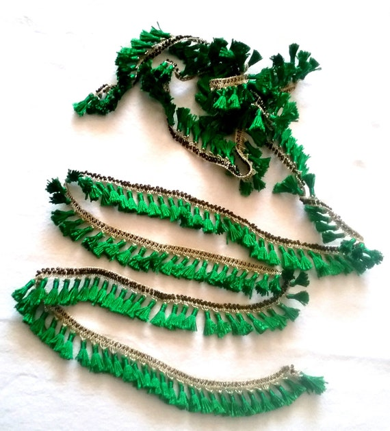 2,1 m gland galons kurde, tresse tresse kurde, ethnique glands vert doré, frange ruban vert main crochet boho fringe bande 39d0f1