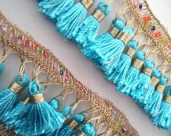 1,7m Tassel trim Kurdistan, fringe trim turquoise golden, beaswork tassels, blue gold tassels, kurdish Boho Tassel braid, folclorostic braid