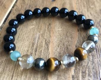 Prosperity & Abundance Mala Bracelet with citrine, tigers eye and 22k gold plated accents, wrist mala, yoga bracelet, healing stones,