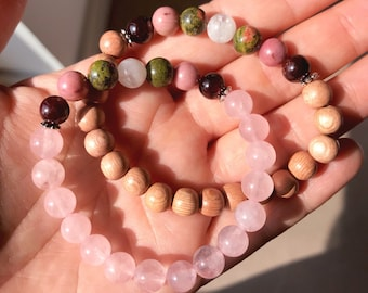 Fertility & Pregnancy bracelets with either rose quartz or rosewood. Healthy, happy pregnancy, fertility jewelry, baby shower gift, TTC.