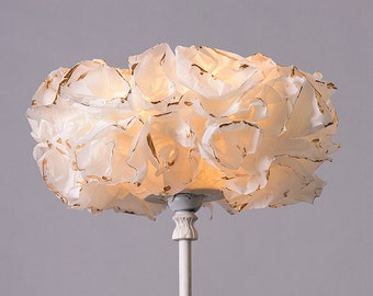 White & Gold Floor Lamp, Paper Lamp shade, Table /Desk Light, Bedside Nightstand Golden Lamp Light
