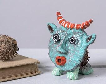 Office Desk decor, Paper Mache Figurines, Collectible figurine, Fantasy Sculpture Ornament, Decorative Miniature Art Statuette sculpture