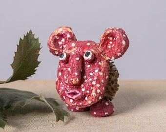 Love Bear Figurine, Desk Decor Ornament, Collectible Figurines, Art collectors, Small Creature Figurine, Paper Mache Decorative sculpture
