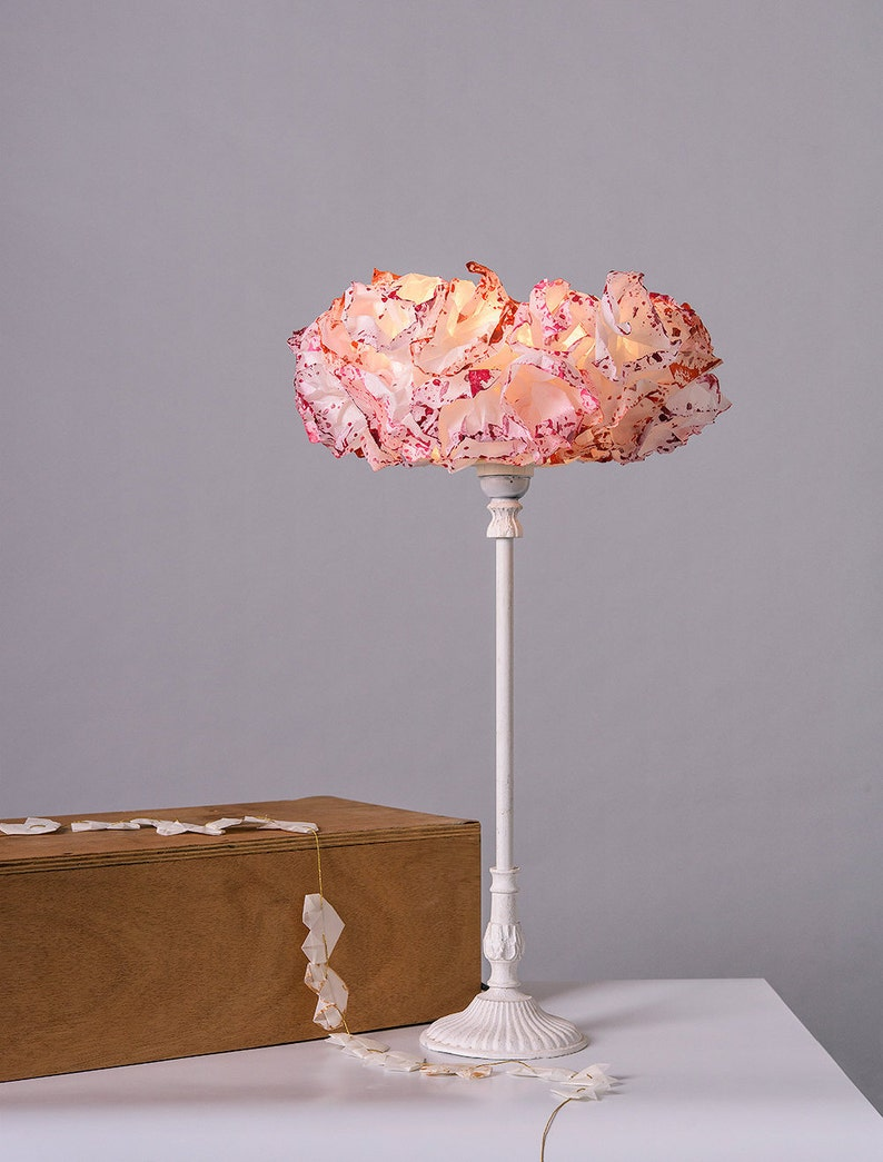Bedside Nightstand Lamp Paper Pink Lamp shade Table Lamp image 0