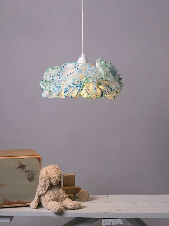 Blau gr n papier lampe kinderzimmer zimmer licht teal etsy - Papierlampe kinderzimmer ...