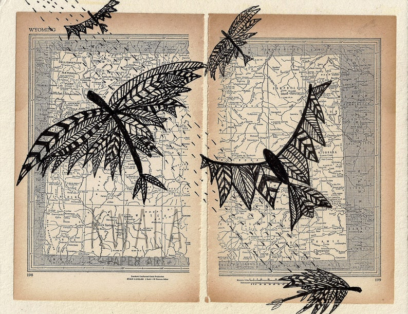Painting On Atlas Painting on Book Page Flying Birds Drawing image 0
