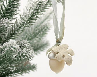Handmade Winter White Acorn Ornament