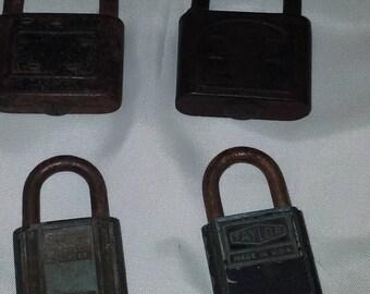 Set of four vintage padlocks
