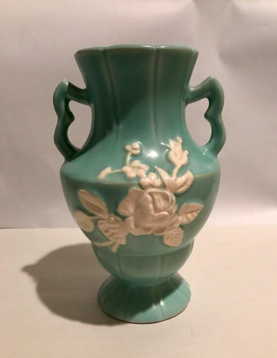 Vintage Weller Green Cameo Vase Etsy