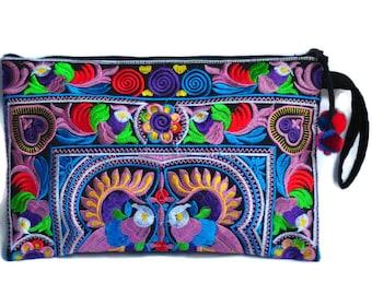 Hill Tribe Handmade Hmong Embroidered bag Embroidered Thai Boho Small  Clutch Purse Bag Handbags Purse Women bag Thai Cotton Bag 171aff5c4641e