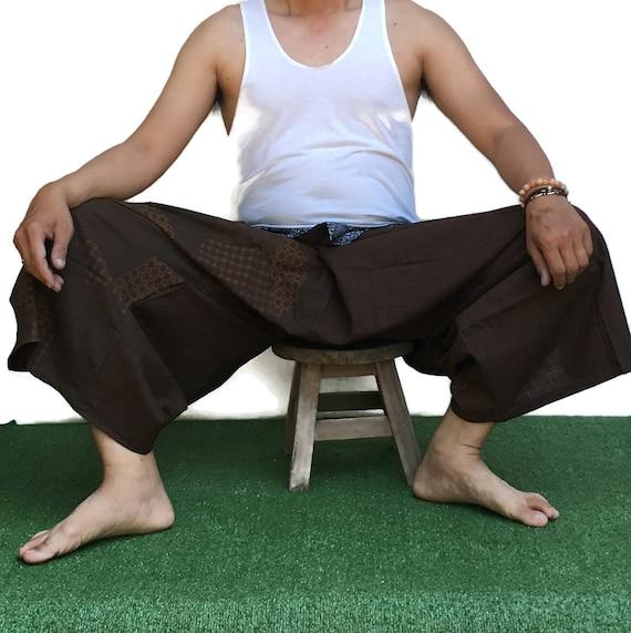 Samurai pants  Men/'s fashion Harem pants Yoga pants Samurai pants Tie waist pants Wide Leg pants Thai Fisherman pants  Unisex Paint pants