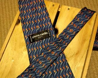 Vintage Pierre Cardin 100% silk tie made in France blue red orange pattern