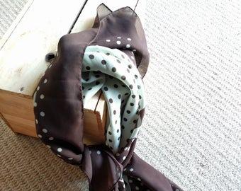 Vintage chocolate brown polka dot scarf wrap made in Japan 35in sq